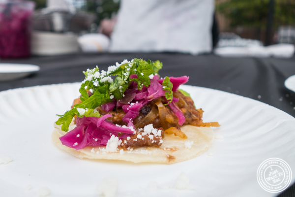 Urban Smoke's pork belly taco at The Great Big Bacon Picnic in Williamsburg, Brooklyn