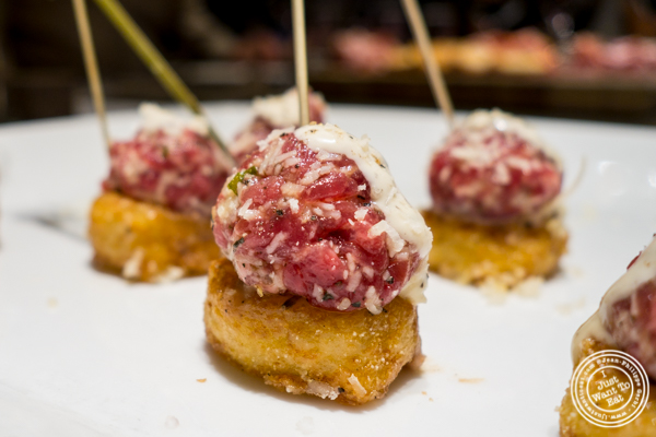 Risotto tater tots with beef tartare at Todd English Food Hall at the Plaza Hotel, NYC, New York