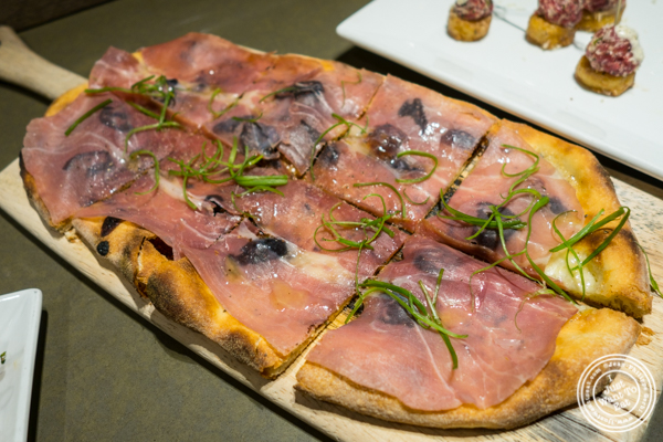Fig and prosciutto pizza at Todd English Food Hall at the Plaza Hotel, NYC, New York