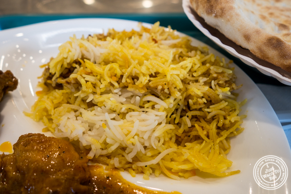 Yellow rice at Haandi in Curry Hill, NYC, New York
