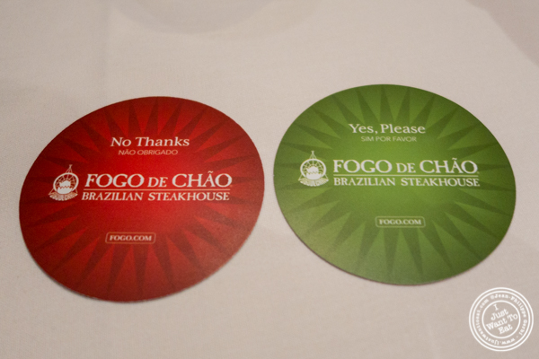 Chips for more/no more meat at Fogo de Chao in NYC, New York