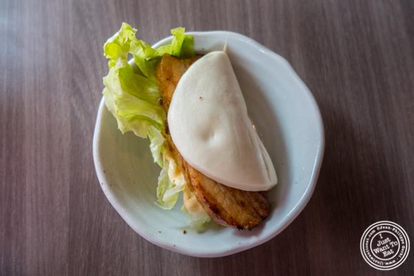 Pork bun at Mentoku Ramen in Hell's Kitchen