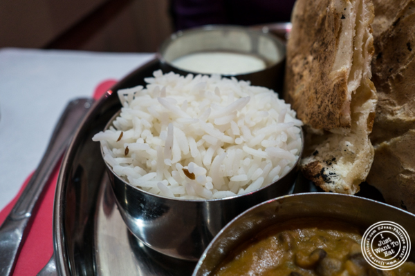 White rice at Bombay Grill House in Hell's Kitchen
