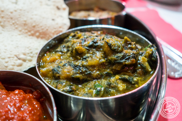 Saag Paneer at Bombay Grill House in Hell's Kitchen