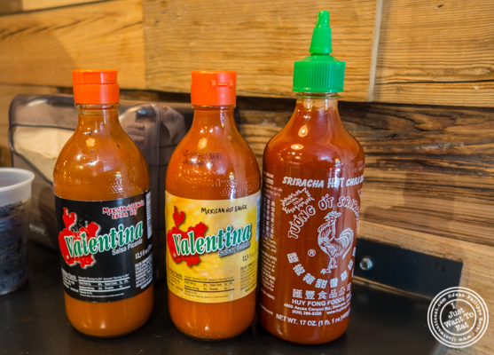 Hot sauces at Otto's Tacos in Hell's Kitchen