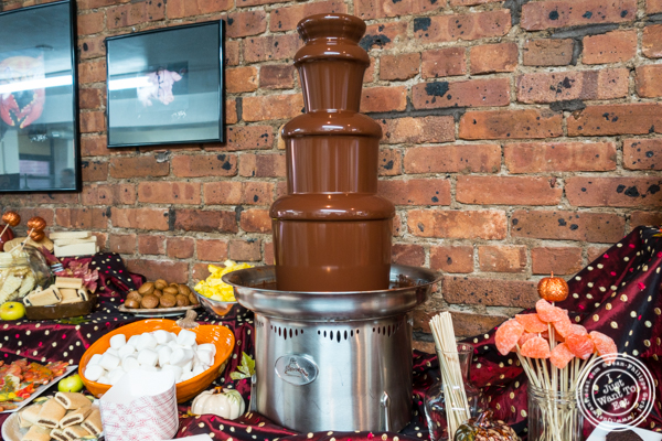 Roni-Sue's own 60% MOHO semi-sweet chocolate fountain at Roni-Sue's Chocolates in the Lower East Side, NYC