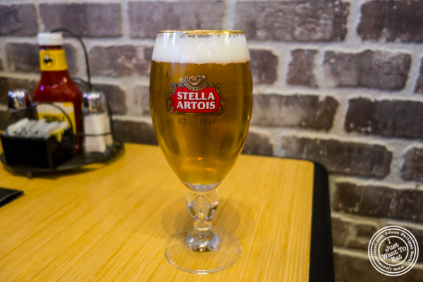 Stella Artois beer at Buffalo Wild Wings in Times Square, NYC