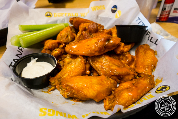 Wings medium spicy at Buffalo Wild Wings in Times Square, NYC