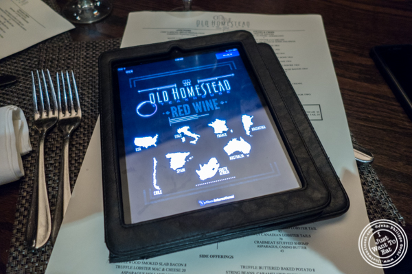 iPad wine list at The Old Homestead Steakhouse in NYC, NY