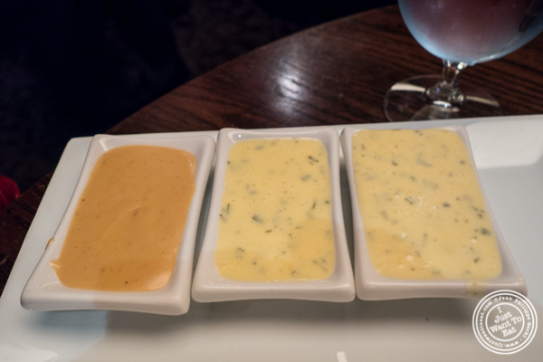 Au poivre and bearnaise sauces at The Old Homestead Steakhouse in NYC, NY