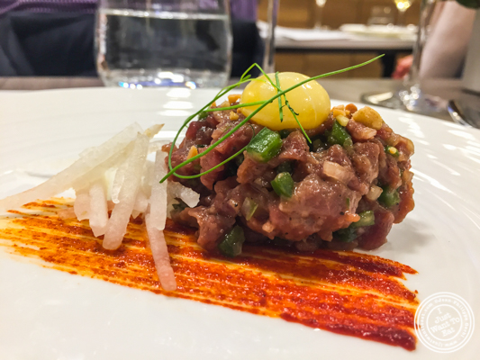 Korean steak tartare at De Gustibus Cooking School at Macy's, NYC, NY
