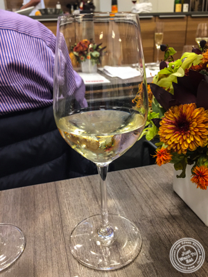 Glass of Pacherhof Kerner 2014at De Gustibus Cooking School at Macy's, NYC, NY