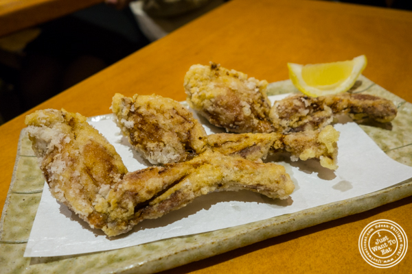 Frog legs karaage at Sake Bar Hagi 46 in Hell's Kitchen, NYC