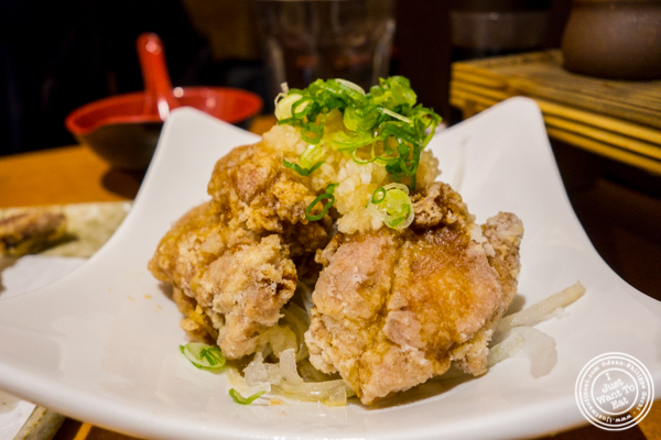 Karaage ponzu or fried chicken at Sake Bar Hagi 46 in Hell's Kitchen, NYC