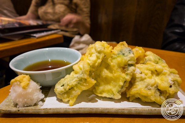 Vegetable tempura at Sake Bar Hagi 46 in Hell's Kitchen, NYC
