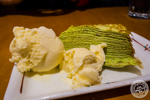 Green tea mille crepes at Sake Bar Hagi 46 in Hell's Kitchen, NYC