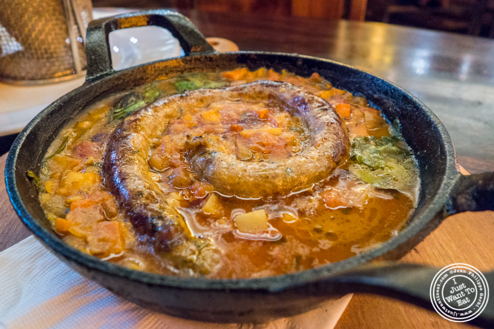 Homemade lamb merguez at Bustan on the Upper West Side, NYC