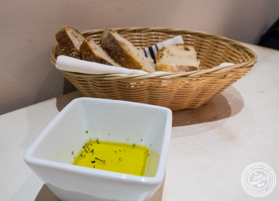 Bread and olive oil at Korali Estiatorio on the Upper East Side, NYC, NY