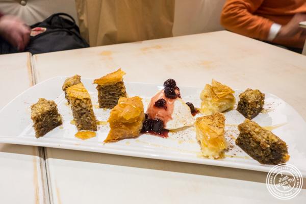 Dessert sampler at Korali Estiatorio on the Upper East Side, NYC, NY