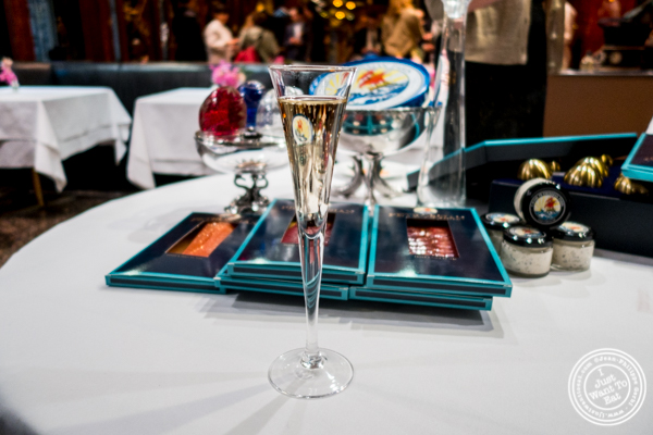 Glass of champagne at Petrossian in NYC, New York