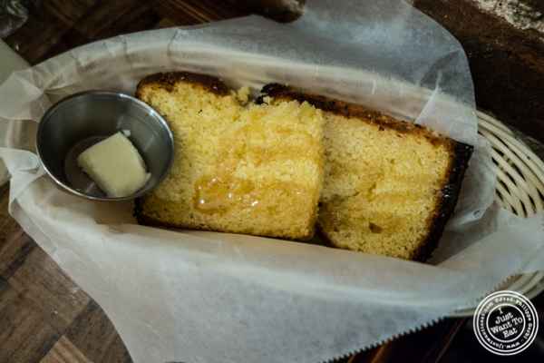 Homemade corn bread at Zora's Cafe in Hell's Kitchen, NYC