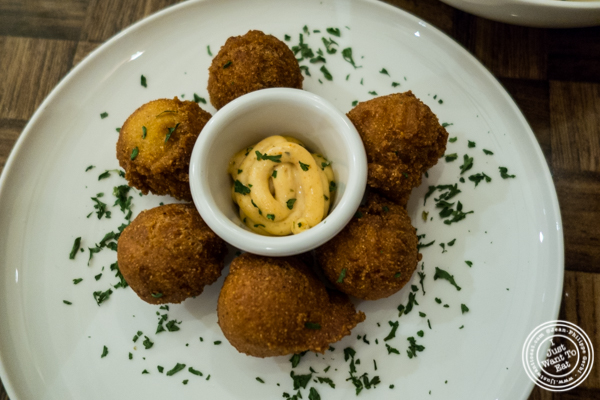 Hush puppies at Zora's Cafe in Hell's Kitchen, NYC