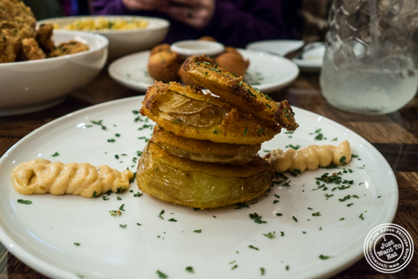 Fried green tomatoes at Zora's Cafe in Hell's Kitchen, NYC
