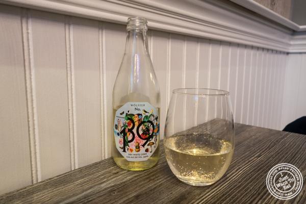 Wolffer No 139 dry white cider at Sagaponack in NYC, New York
