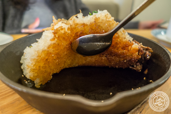 Rice crust from the Spicy pork belly bibimbap at Danji in NYC, NY