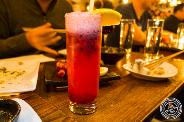 Raspberry fizz at Hanjan in NYC, New York
