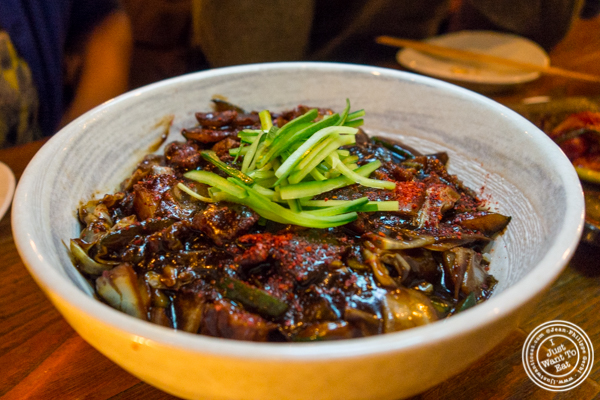 Thick noodles in black bean sauce with pork belly at Hanjan in NYC, New York
