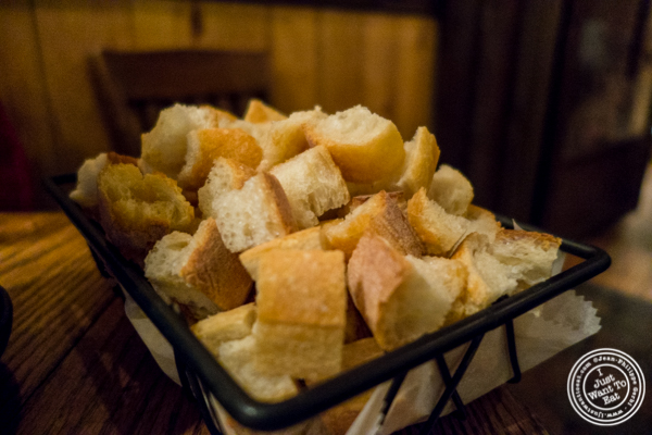 Bread for fondue at Kashkaval Garden in Hell's Kitchen