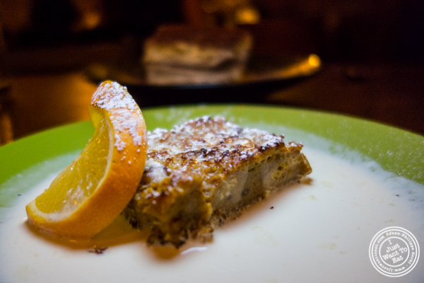 Bread pudding at Bettola on the Upper West Side, NYC, NY