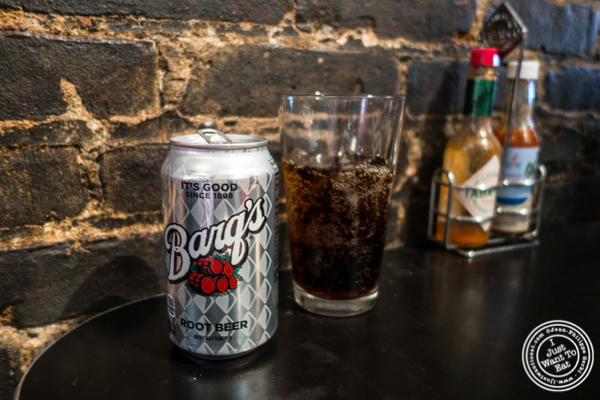 Barq's root beer can at Bonnie's Grill in Park Slope, Brooklyn