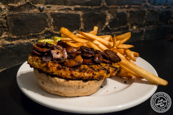 Spiced veggie burger at Bonnie's Grill in Park Slope, Brooklyn