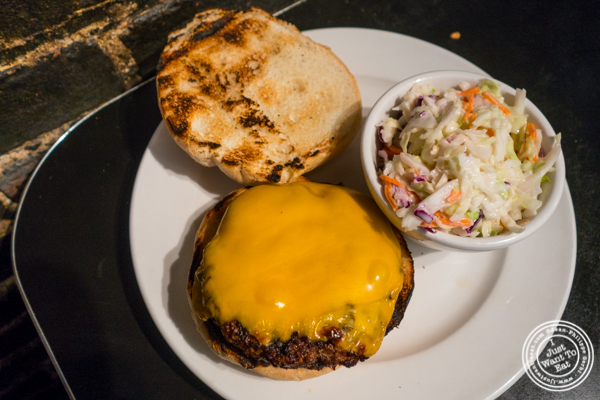 Black angus burger at Bonnie's Grill in Park Slope, Brooklyn