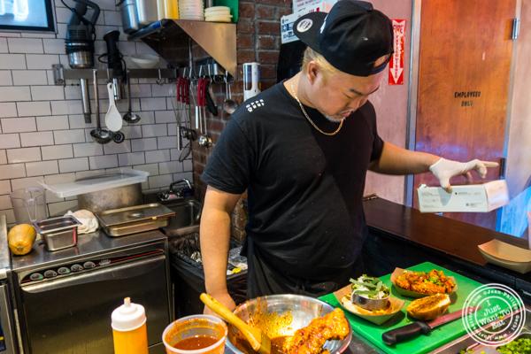 Making Busan Chicken Sandwich at OPPA in the Gansevoort Market, NYC