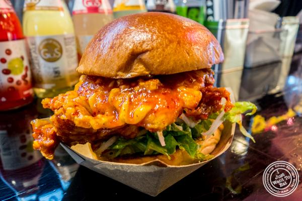 Busan chicken sandwich at OPPA in the Gansevoort Market, NYC