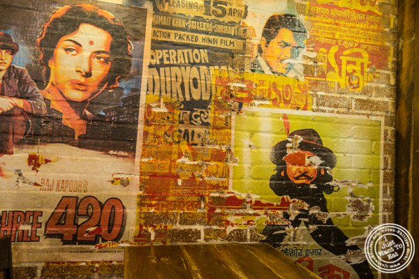 Bollywood posters at The Kati Roll Company in NYC, NY