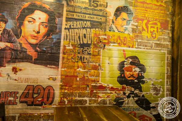 Bollywood posters at The Kati Roll Company in NYC, NY