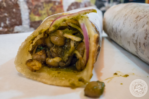 Chana masala Kati roll at The Kati Roll Company in NYC, NY