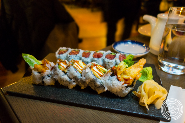 Fried chicken and spicy tuna rolls at The Wayfarer in NYC, NY