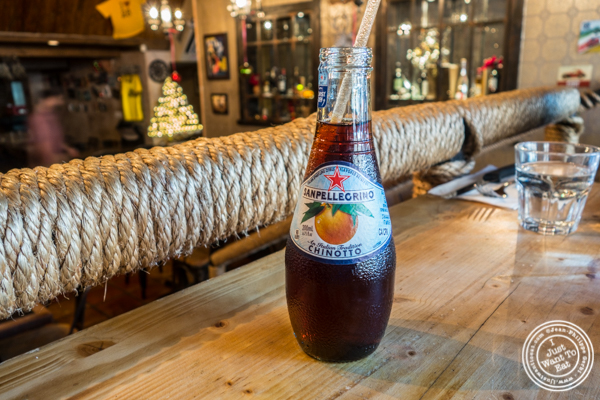San Pellegrino Chinotto oranges at Numero 28 Pizzeria, NYC, New York