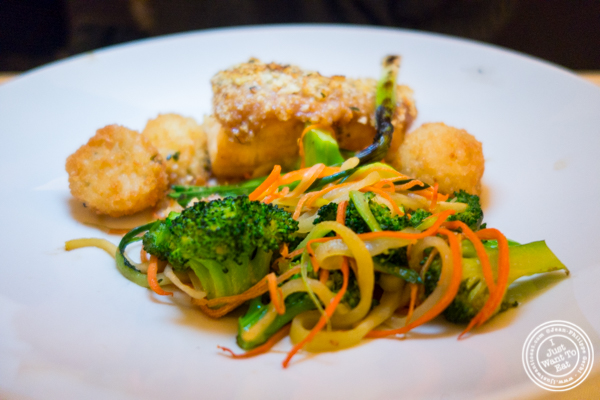 Vegetables in the miso crusted sea bass at Bryant Park Grill in NYC, NY