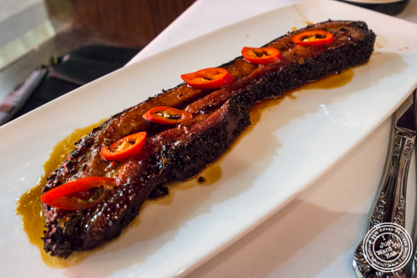 Thick cut of bacon at Del Frisco's Double Eagle Steakhouse in Manhattan, NYC