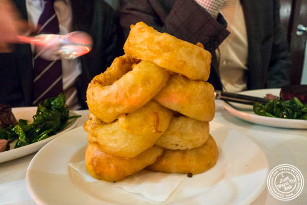 Onion rings at Del Frisco's Double Eagle Steakhouse in Manhattan, NYC