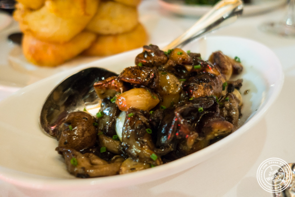 Sautéed mushrooms and pearl onions at Del Frisco's Double Eagle Steakhouse in Manhattan, NYC