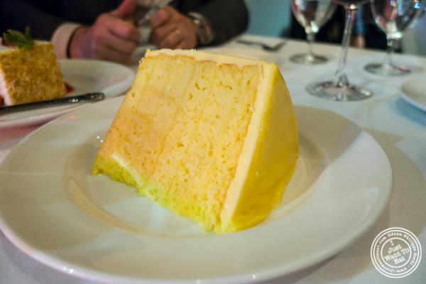 Six layers lemon cake at Del Frisco's Double Eagle Steakhouse in Manhattan, NYC