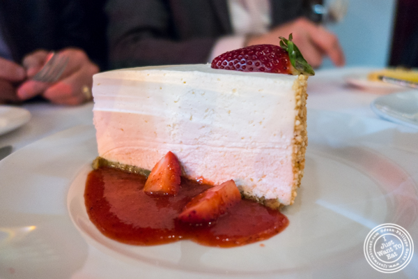 Strawberry cheesecake at Del Frisco's Double Eagle Steakhouse in Manhattan, NYC
