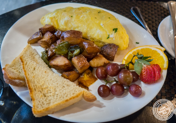Vegetarian omelet at Petit Poulet in NYC, NY